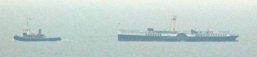 Medway Queen under tow off Herne Bay